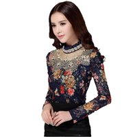 beaded clothes - Women Fall New Fashion Floral Blouse XL Long Sleeve Lace Crochet Beaded Blouses Designer Clothes China Shirts Camisa Blusa