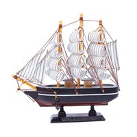 Al por mayor-Nuevo Barco de Madera de Barco Velero Modelo de Arte Artesanal Escritorio Decoración de la oficina de Regalo de Cumpleaños de #60686
