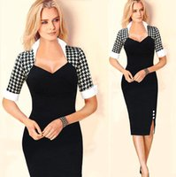 Wholesale 2015 Fashion Bodycon Split Work Dresses Pinup Retro Rockabilly Houndstooth Colorblock Tunic Wear to Work Business Pencil Dress OXL072401