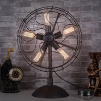 bedside fan - Table Lamp American Country Retro Industrial Iron Fans Desk Lamp Study Room Bedroom Bedside Decorative Light