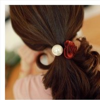 Wholesale 2016 new Fashion Women Bracelets Hair Rope red rose bowknot Elastic Rope hair tie