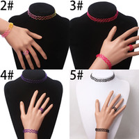 Wholesale 2015 design Charming Vintage Style s Black Tattoo Choker Necklace Bracelet Ring Set Elastic Stretch Gothic Jewelry Sets