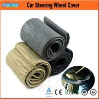 Wholesale Auto Interior Comfortable Steering Wheel Cover Dia cm Car Steering Wheel Cover with Needle and Thread Black Gray Beige