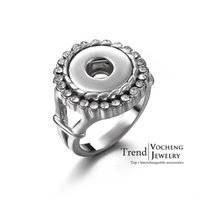 Wholesale Vocheng Small NOOSA Crystal Button Ring Ginger Snap Charm Ring for Small mm Popper Jewelry NN