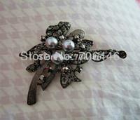 amf bow - Gun Black Plated Rhinestone Crystal amf Grey Pearl Bow brooch