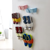 shoes rack shelf - 8PCS Paste wall hanging shoe rack creative Shoes Rack Plastic Shelf Holder Hanger Bathroom Wall Storage Estanteria Organizador Organizer