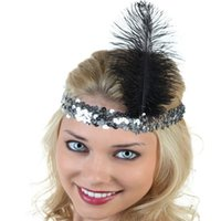 Wholesale New Fashion Fancy Feather Headband Flapper Sequin Costume Hair Band Party Hairband Flapper Feather Headband s Flapper Many Colors
