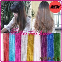 Wholesale New Womens Girls Dazzle Hair Extensions quot Straight Colorful metallic yarn Shiny Hair Extensions RainbowHair piece FP03