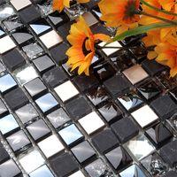 Wholesale GM18 crystal black glass mosaic stone puzzle background wall mosaic bathroom tile