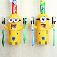 Wholesale New Despicable Me Toothbrush Holder Minions Design Set Cartoon Automatic Toothpaste Dispenser with Brush Cup with retail package free DHL