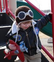 animal pilot hats - Crochet Aircraft Pilot Aviator Knitted Baby Boys Hat Newborn Infant Toddler Cartoon Animals Caps Winter Children Beanie Cotton