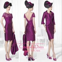 Wholesale Mother of the Bride Dresses Sheath Bayberry Taffeta Bateau Mother of the Bride Gowns Appliques Beads Half Sleeve Knee Lenght Evening Dress