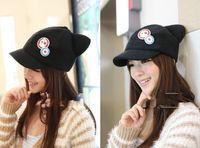 Wholesale EVA Neon Genesis Evangelion cosplay Asuka Langley Soryu hat and badges EVA Cat Ear Polar Fleece Hat Peak