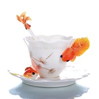 enamel paint - Hot enamel porcelain tea cup ceramic goldfish creative mug Chinese ceramic tea set painted fashion coffee cup