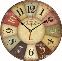 Wholesale Vintage British France styles Wooden Retro Colourful Country Tuscan Style Wood Wall Clocks DIY bracket clock