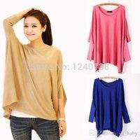 Cheap 2015 spring Women Top Oversized Layering Tunic Knit Sweater Sleeve Free Size Batwing Coat CAknit cardigan