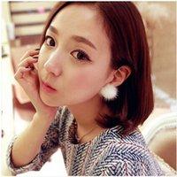 Wholesale Cute Faux Fur Ball Earrings For Women Ladies Winter Sweet Mink Fur Ball Ear Ornament Pearl Double Stud Jewelry Xmas Gift