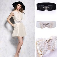 Wholesale Best Selling Faux Pearl Butterfly Shape Belt for Female Korean Style Elastic Waistband Elegant Ladies Belt Black White YB0048 salebags