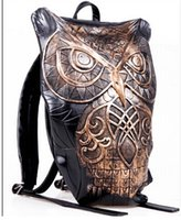 Wholesale Owl bag Owl backpack female bolso vintage backpack Newest style black print owl leather backpack woman