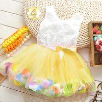 rosettes chiffon - New girls gauze dress Rosette princess dress Beautiful girl dress with bowknot Summer hot selling