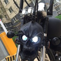 Wholesale Universal Motorcycle skull headlight WITH LIGHT IN EYES Resin Black