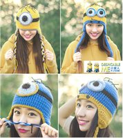 Wholesale 10 BBA4341 color women knitted Despicable Me beanie hats lady wool minions beanie caps warm Crochet handmade beanie christmas gift