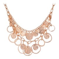 ally beaded - 2015 New Arrival Lady Vintage Necklace Zinc ally Double Layer Disc Disk Choker Collar Necklace Dancing Belly Party