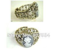 antique cameo bracelet - New Arrivals fashion Jewelry vintage antique brass crystal cameo profile bangles bracelets women