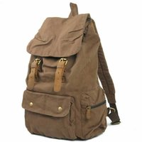 Wholesale High Quality Vintag Canvas Leather Backpack Travel Hiking Backpack School Bags Laptop Backpack Casual style