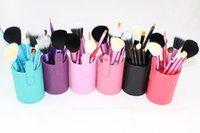 Cheap 12pcs Makeup Brushes Black Cosmetic Brushes Tool Kit with box Professional Stroke Set Leather Cup Styling Tools Kit Hair Kabuki Brush