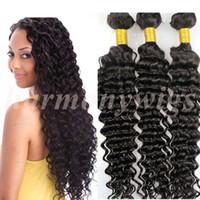 curly human hair extensions - Cheap Unprocessed Brazilian Hair Weave Virgin Human Hair bundles Deep wave curly no tangle Malaysian Peruvian Indian hair extensions