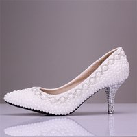Wholesale new handmade white pearls wedding shoes crystal bridal shoes elegant pointed toe high heel shoes party shoes