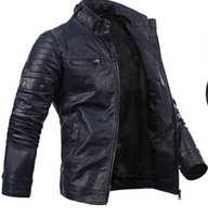 Wholesale Fall New arrival men s Jacket pu Leather Jacket motorcycle Jacket casual mens coat zipper button mens jacket Navy