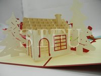 Wholesale 3D Pop Up Handmade Christmas Card Paper Cards Gift For Greeting Wishing Congratulations Christmas House D Stereoscopic Card