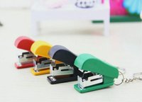 Wholesale Small portable mini candy colored pendant key ring shape stapler stationery gift small gifts for children