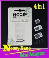 Wholesale 4 in1 noosy Dual Sim Card Adapter For iPhone Nano SIM card adapter to Micro Standard Adapter Eject Pin Key