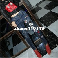antique embroidery pattern - Antique embroidery cartoon brand women Jeans pants with holes torn loose women Harem pants jeans Girls mice
