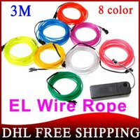 Wholesale 200SET Colors M Flexible Neon Light EL Wire Rope Tube With Controller