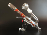 gun water pipe - Red amazing Gun shape Glass oil rigs glass bongs with slitted cut perc glass water pipes with mm joint size