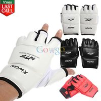 Wholesale 2015 New Half Finger PU Leather Boxing Gloves Sanda Fighting Sandbag Fist Glove XS S M L XL Colors Available