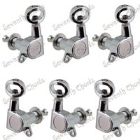 Wholesale A Set Chrome Inline Machine Heads Tuners for Acoustic Electric Guitar Tuning Pegs Keys With Hollow Handle