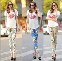 Wholesale 2016 Comfortable and soft women cotton peony flowers Leggings breathable Leggings nine minutes of pants feet pants low price
