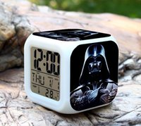 Wholesale Star Wars disigns LED Digital Alarm Clock Colors Change Darth Vader clock with nightlight Thermometer Calendars