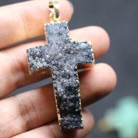 agate purple crystal - On Sell Druzy Crucifix Agate Women Connector Colors Crystal Quartz Drusy Agate Pendants Necklace Drop Pendant