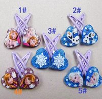 Wholesale fashion Frozen Anna Elsa snow Olaf Hair Clips Girls Hair Accessories Clamps Hairpin Ornament with Paper card hair clips