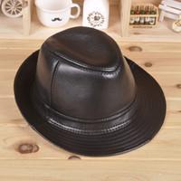 Wholesale Adult men and women large brimmed hat genuine leather hat goatskin fedoras top hat