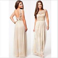 Wholesale Backless Lace Floor length Dress Petal Casual Chiffon Street Style Dress Waist Pierced Big swing Sleeveless Dress J0063