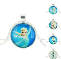 Wholesale Women children Frozen necklace Snowman Elsa Anna glass cabochon pendant silver chain necklaces charm jewelry Christmas gift