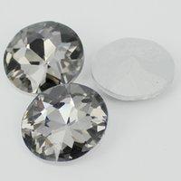 achat en gros de rond de cristal 27mm-27mm 20pcs Cristal Silver Shade Big forme ronde pierres de verre pierres de verre idéal pour la décoration intérieure de haute qualité