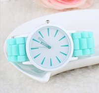 Wholesale 2015 New Fashion Geneva Women Watch Multi Color Jelly Silicone Sports Watches Dress Quartz Wristwatches